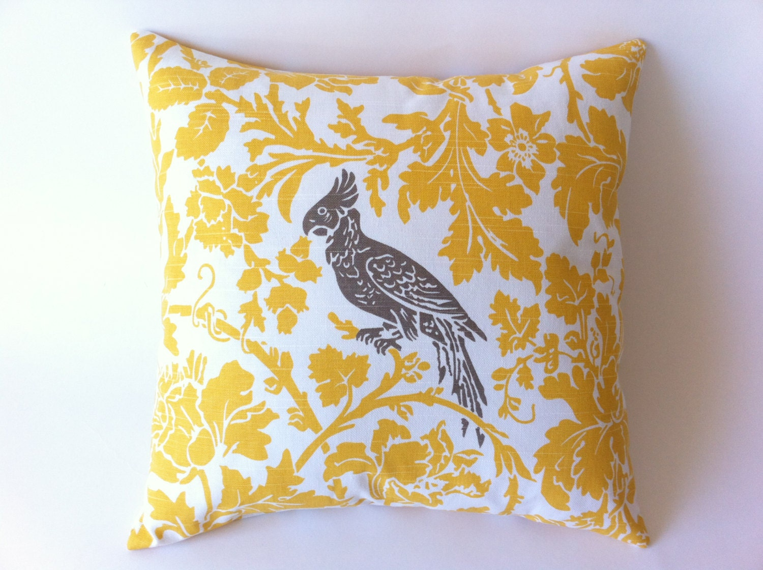 Yellow Bird Throw Pillows : TWO Yellow Throw Pillows with Bird Accent Yellow by Pillomatic