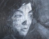 Portrait, Black and White. Oil painting. Oil on canvas.