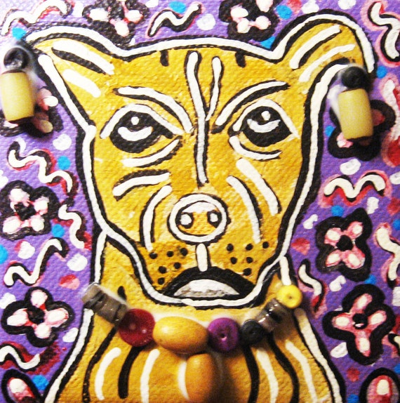 Items similar to pitbull painting original etsy small for Small paintings that sell