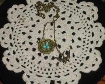 Bird nest and sparrow charm dangle necklace