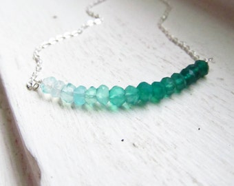 Green onyx ombre necklace bar spring grass green silver chain rondelles gradient multi