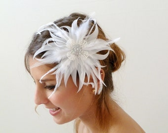 Bridal Hair Flower, bridal feather hair flower White Feather Bridal hair Fascinator ,Hair Clip , Bridal Feather hair Fascinator Accessory