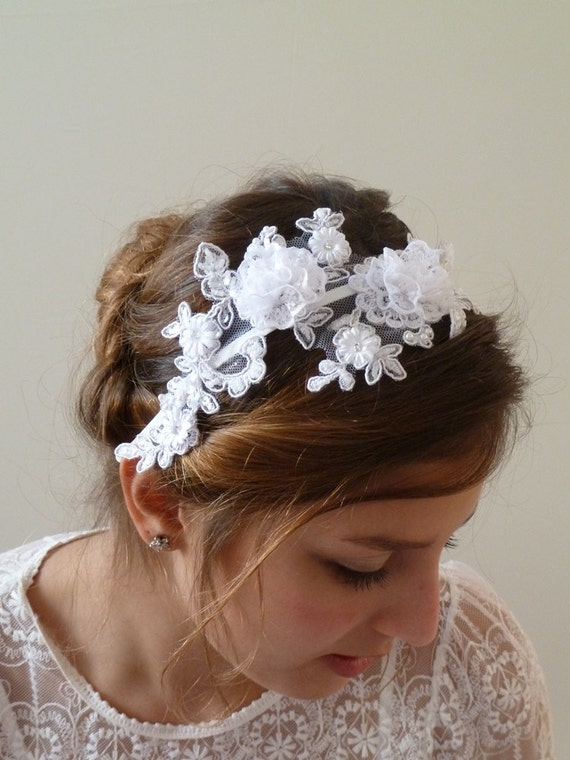 flower headbands for weddings white lace flower bridal headband lace headband wedding 4196
