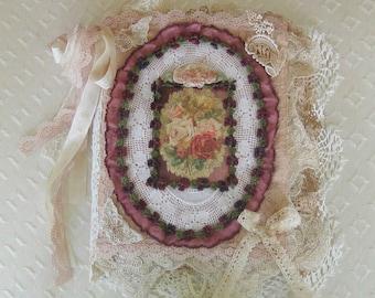 Shabby Chic Mixed Media Fabric Collage Book, Antique Laces, Ribbonwork, Ephemera