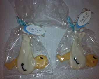 Custom Baby Cookies - Here comes the stork