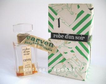 Carven Robe D'Un Soir vintage perfume bottle, boxed, 1940s 1950s era