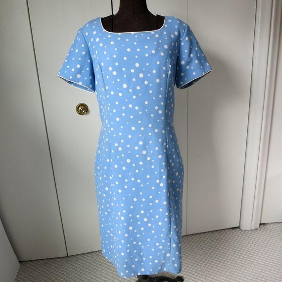 1980s Vintage Worthington Light Blue Princess Seamed Polka Dot Dress