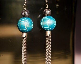Wood Beads and brass Dangles