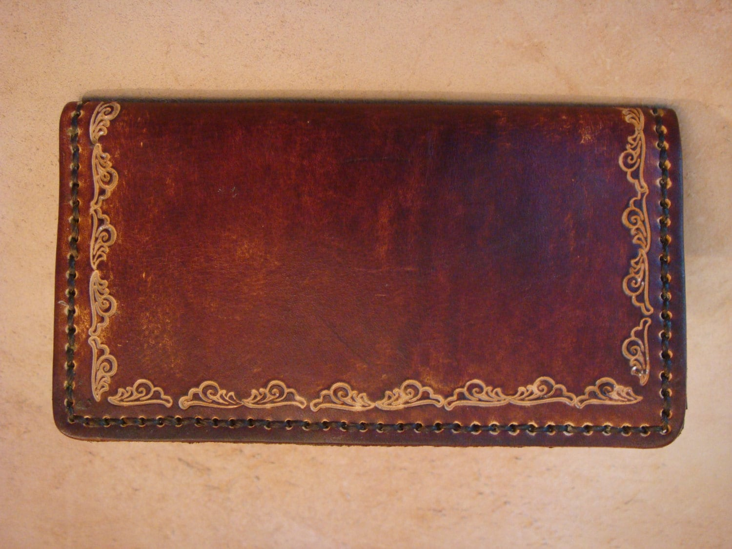 Tooled Leather Checkbook Cover Tooled Leather Wallet Brown