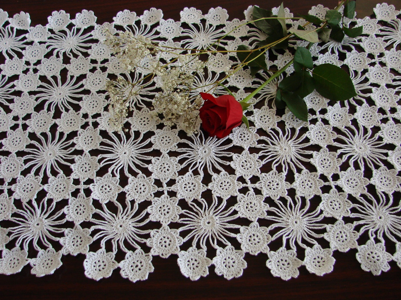 New hand crochet table runner crochet doily handmade white for Table design patterns