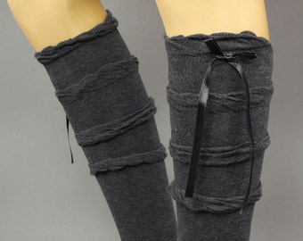 Ruffle Over The Knee Socks With Ribbon -cotton sock, Ruffle Socks,  knee socks,  Charcoal Grey, boot socks -ribbon socks , boot socks,