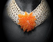 African Statement necklace,Bid necklace Silver wired necklace with orange flower pendant, Bridemaides necklace, Chunky necklace