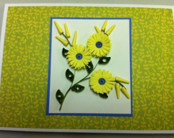 Quilled frilled daisy with bulbs - Card