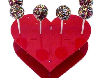 Heart Shaped Red Acrylic Cake Pop Stand - 32 Holes