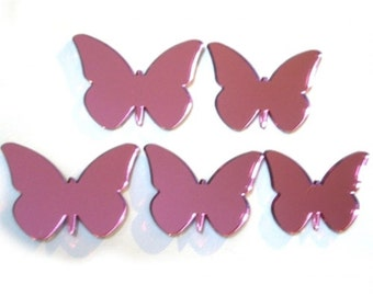 Pink Butterfly Mirrors Pack of 5 x 4cm