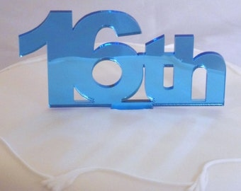 """Celebration Age Blue Mirror Cake Toppers Large 10cm/4"""" 15cm inc spike  - All Ages"""