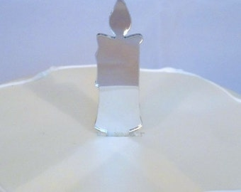 Candle Cake Toppers in Silver Mirror Acrylic - 6.5cm / 2.6""
