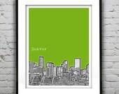 Denver Colorado Poster Art Print  Skyline