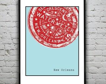 New Orleans Water Meter Art Print Poster  Original Louisiana Version 1