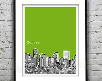 Denver Colorado Poster Art Print  Skyline Version 1