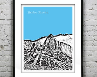 Machu Picchu Poster Landmark Art Print Peru