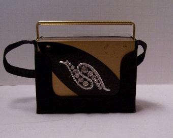 Vintage Art Deco Rhinestone Compact Purse Volupte