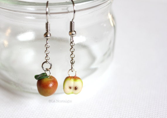 Spring Apple jewelry red apple green apple earring unique silver jewelry miniature clay fruit