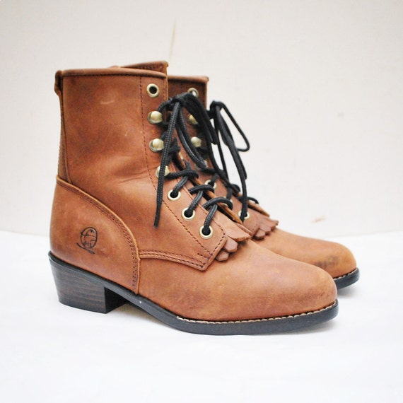 Vintage 80s KIDS boots/ children's boots/ roper kiltie boots/ lace up/ Durango boots - size 1D, eur 31, uk 13