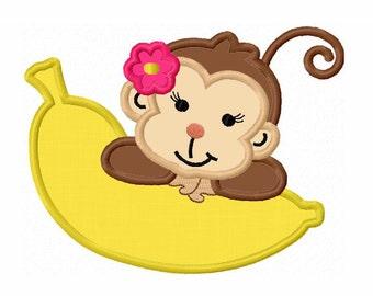 Girl Monkey With banana Applique Machine Embroidery Design NO:0036