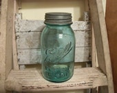 1910's Vintage Ball Perfect Aqua Blue Mason Jar With Zinc Lid Quart