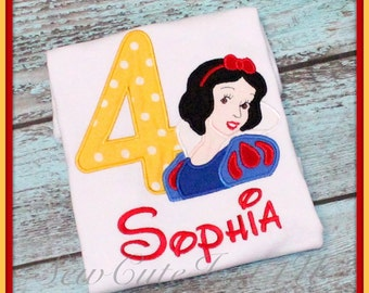 Snow White Themed Birthday Number Shirt