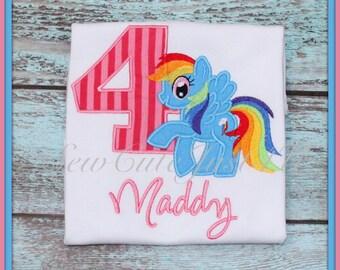 Rainbow Dash My Little Pony Themed Birthday Number Shirt