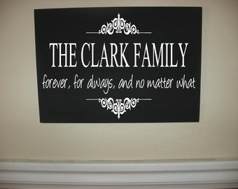 Custom Personalized Wooden sign-Custom family name forever, for always, no matter what