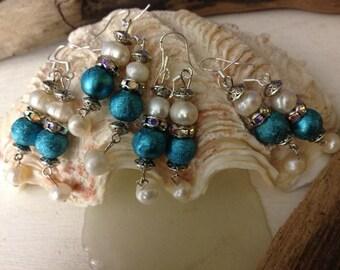 Swarovski Wedding-something Royal blue beads and fresh water pearls earrings wedding