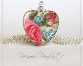 Heart Pink Rose Blue Flowers Necklace Pendant Vintage Image Art Jewelry Valentine's Day 0106HS