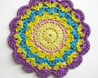 Handmade crocheted flower motif applique  purple yellow blue 3 inches wide