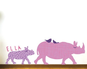 Rhino Wall Decals - Personalized Rhinoceros Fabric Wall Decals
