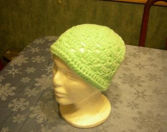 Crochet green youth hat