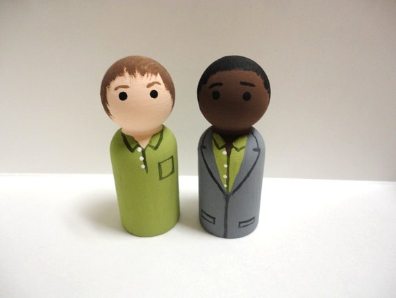 Psych - Shawn Spencer and Burton Guster Wooden Peg Dolls