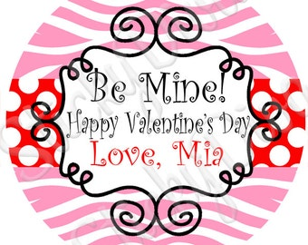 PERSONALIZED VALENTINE STICKERS - Sweet Pink Zebra and Red Dots - Goody Candy Bags Round Gloss Labels