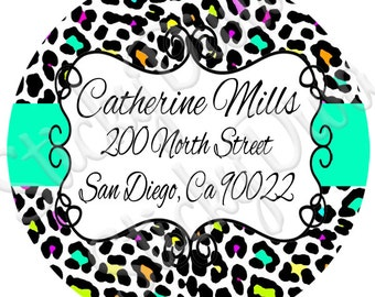 PERSONALIZED STICKERS - Custom Multi Color Cheetah Address or Personalized Labels - Round Gloss Labels