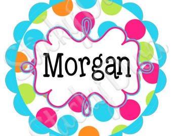PERSONALIZED STICKERS - Custom Adorable Bright Dots Personalized Labels - Round Gloss Labels