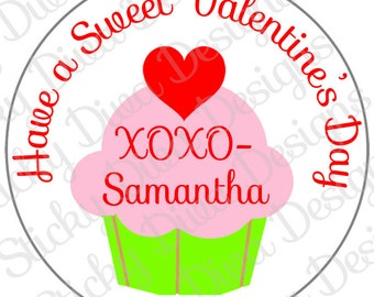 PERSONALIZED VALENTINE STICKERS - Cupcake Valentine's Day Saying - Round Gloss Labels