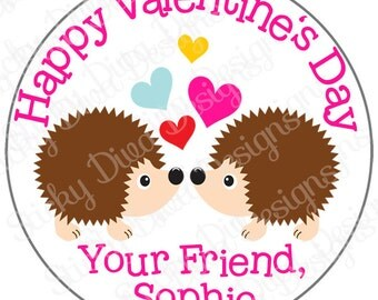 PERSONALIZED VALENTINE STICKERS - Sweet Hedgehogs - Round Gloss Sticker Labels