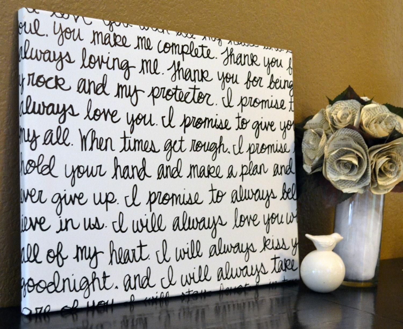 Wedding Vows Gift: Custom Wedding Vows Handwritten Script Canvas Wall Art