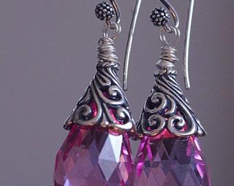 pink topaz, sterling silver earring