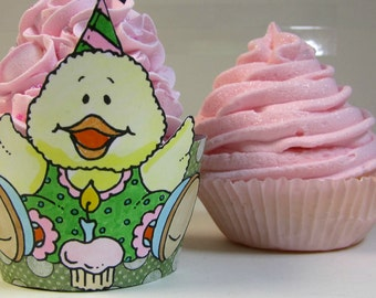 Baby shower cupcake wrapper duck cupcake wrapper set of 12