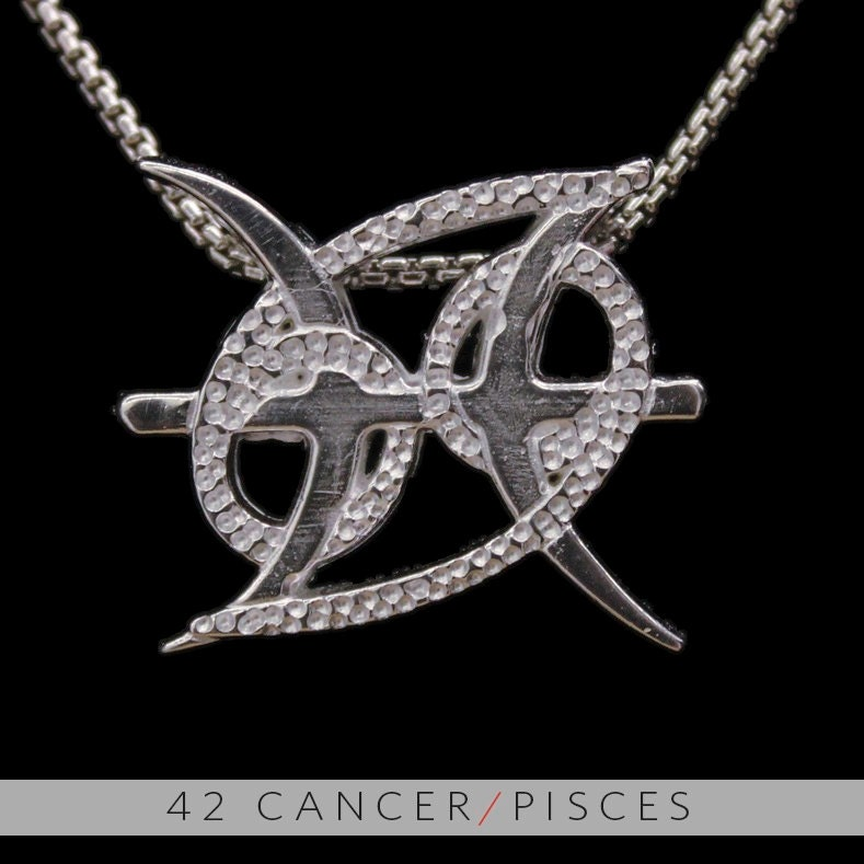 42 cancer and pisces silver unity pendant