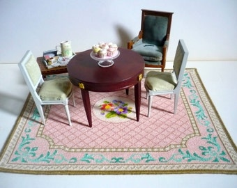 Instant PDF download dollhouse miniature needlepoint carpet  pattern T20