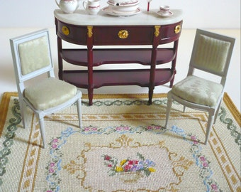 Instant PDF download dollhouse miniature needlepoint carpet  pattern T15